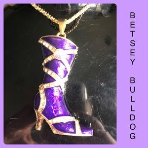 Purple Rhinestone High Heel Boot Sweater Necklace